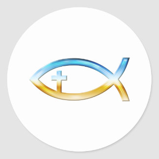 Christian Fish Symbol with Crucifix - Sky & Ground Classic Round Sticker