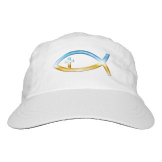 Christian Fish Symbol with Crucifix - Sky & Ground Hat