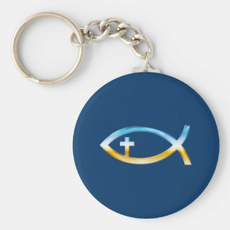 Christian Fish Symbol with Crucifix - Sky & Ground Basic Round Button Keychain