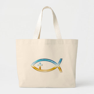 Christian Fish Symbol with Crucifix - Sky & Ground Large Tote Bag