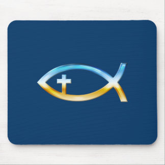 Christian Fish Symbol with Crucifix - Sky & Ground Mouse Pad