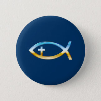 Christian Fish Symbol with Crucifix - Sky & Ground Pinback Button