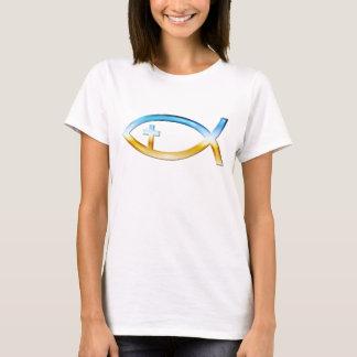 Christian Fish Symbol with Crucifix - Sky & Ground T-Shirt