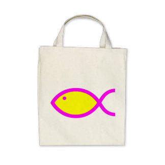 Christian Fish Symbol - Yellow with Pink Tote Bags