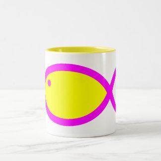 Christian Fish Symbol - Yellow with Pink Two-Tone Coffee Mug