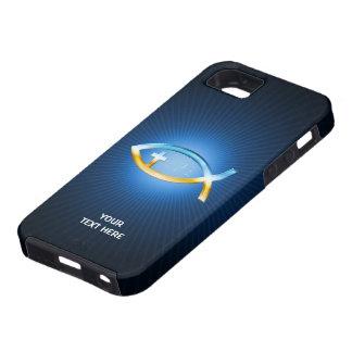 Christian Fish Symbols on blue background iPhone 5 Case