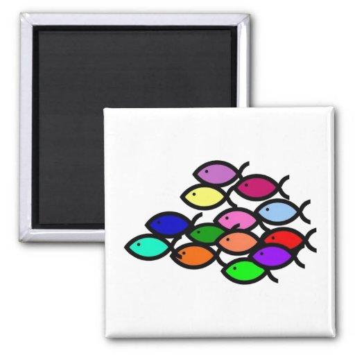 Christian Fish Symbols - Rainbow School - 2 Inch Square Magnet