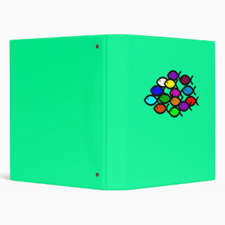Christian Fish Symbols - Rainbow School - 3 Ring Binder