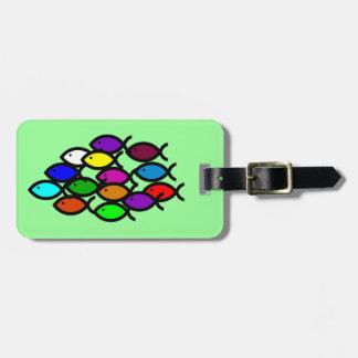 Christian Fish Symbols - Rainbow School - Bag Tag