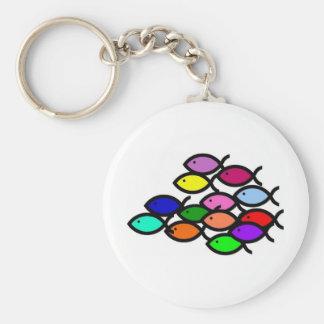 Christian Fish Symbols - Rainbow School - Basic Round Button Keychain