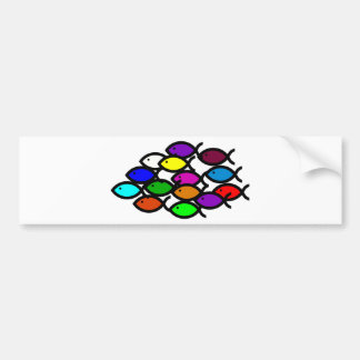 Christian Fish Symbols - Rainbow School - Bumper Sticker