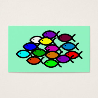 Christian Fish Symbols - Rainbow School - Business Card
