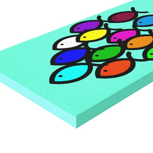 Christian Fish Symbols - Rainbow School - Canvas Print