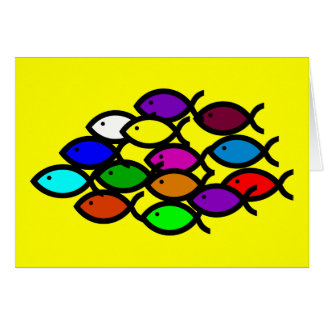 Christian Fish Symbols - Rainbow School - Card
