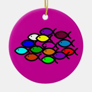 Christian Fish Symbols - Rainbow School - Ceramic Ornament
