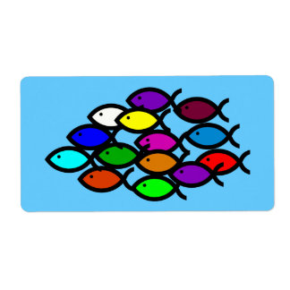 Christian Fish Symbols - Rainbow School - Label