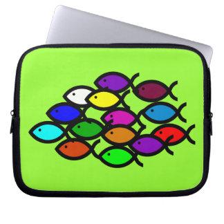 Christian Fish Symbols - Rainbow School - Laptop Sleeve