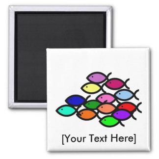 Christian Fish Symbols - Rainbow School - Magnet