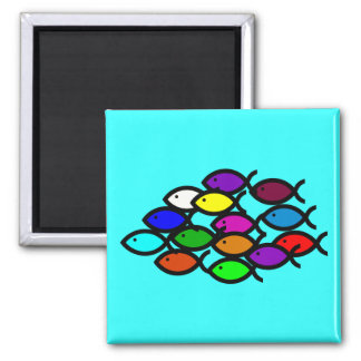 Christian Fish Symbols - Rainbow School - Magnet