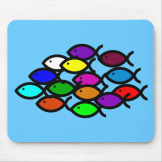 Christian Fish Symbols - Rainbow School - Mouse Pad