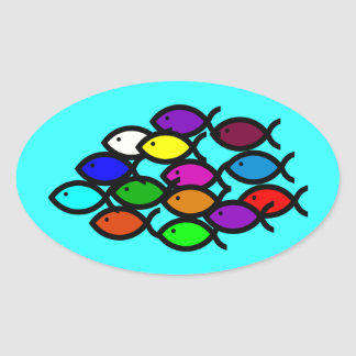 Christian Fish Symbols - Rainbow School - Oval Sticker