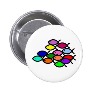 Christian Fish Symbols - Rainbow School - Pinback Button