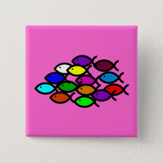 Christian Fish Symbols - Rainbow School - Pinback Button