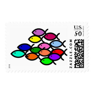 Christian Fish Symbols - Rainbow School - Postage