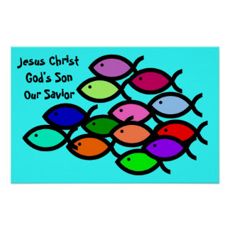 Christian Fish Symbols - Rainbow School - Poster