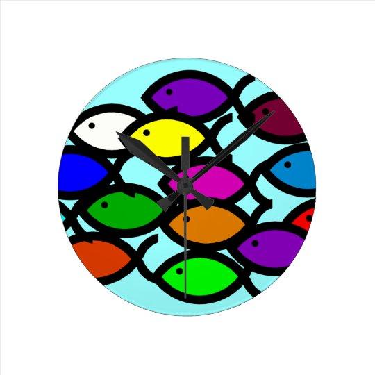 Christian Fish Symbols - Rainbow School - Round Clock