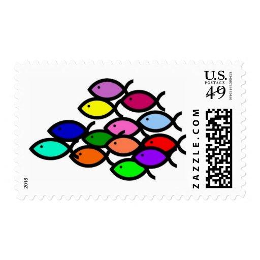 Christian fish symbols rainbow school stamp zazzle for Fish symboled stamp