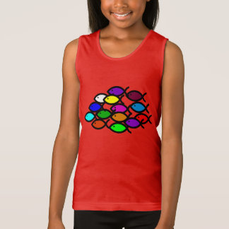 Christian Fish Symbols - Rainbow School - Tank Top