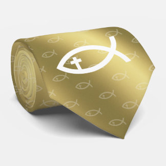 Christian Fish with Crucifix - Graphic Golden Tie