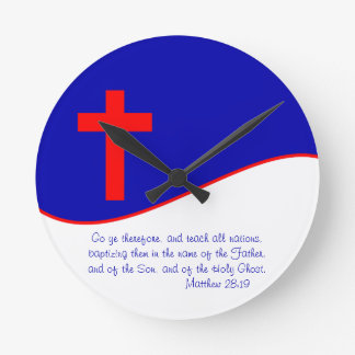 Christian Flag Inspired Round Clock