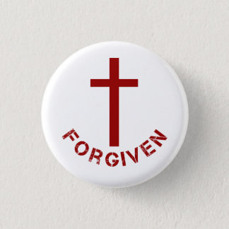 Christian Forgiven Red Cross and Text Design Button