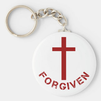 Christian Forgiven Red Cross and Text Design Keychain