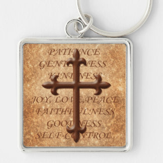 Christian Fruits of the Spirit Iron Cross Keychain