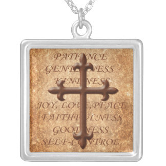 Christian Fruits of the Spirit Iron Cross Necklace