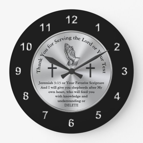 Christian Gifts for Pastors, Jeremiah 3:15 Large Clock