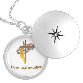 Christian gifts round locket necklace