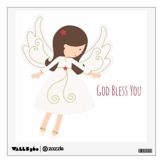 Christian GOD BLESS Folk Angel Wall Decal