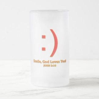 Christian God Love's You 16 Oz Frosted Glass Beer Mug