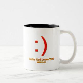 Christian God Love's You Two-Tone Coffee Mug