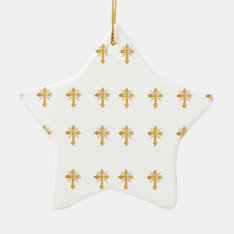 Christian Gold Cross Ceramic Ornament at Zazzle