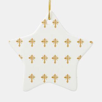 Christian Gold Cross Ceramic Ornament