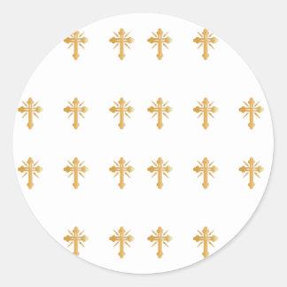 Christian Gold Cross Classic Round Sticker