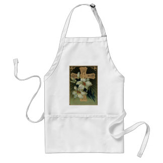 Christian Gold Cross Easter Lily Apron