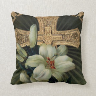 Christian Gold Cross Easter Lily Pillow