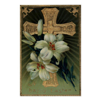 Christian Gold Cross Easter Lily Print