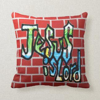 Christian graffiti throw pillow